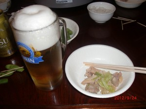 美味いビール&鶏チャン・・・最高!!